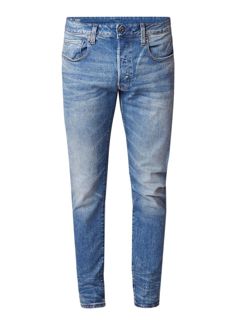 G-Star RAW 3301 low rise slim fit jeans met faded look