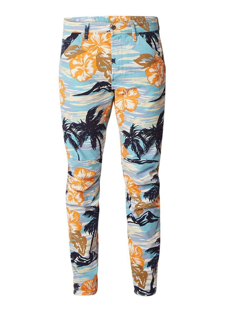 G-Star RAW 5622 Elwood tapered fit jeans met hawaii print
