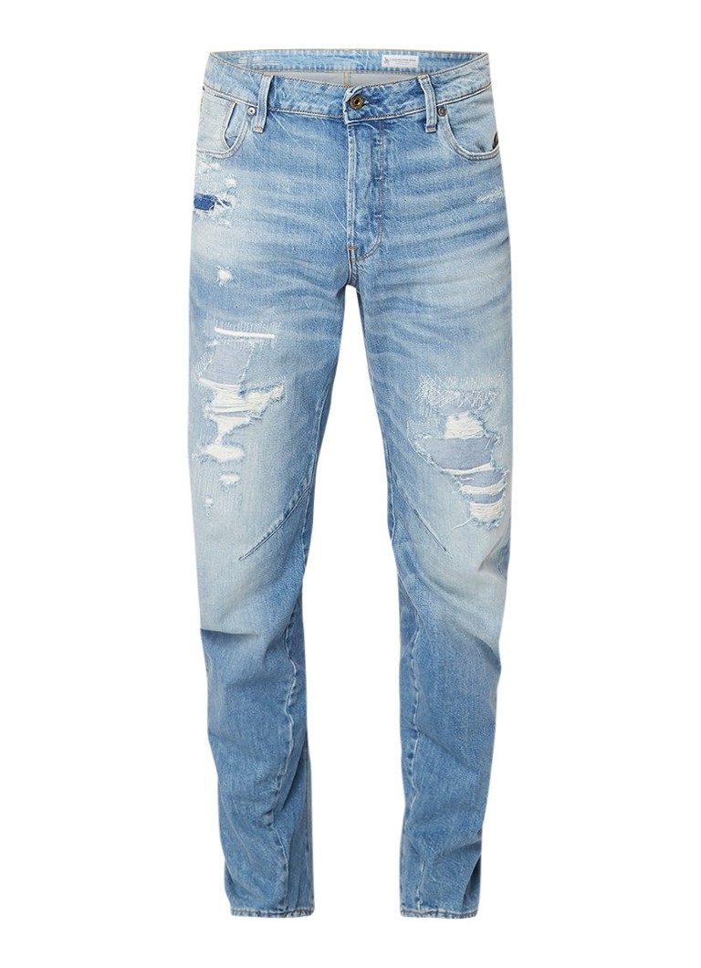 G-Star RAW Arc 3D mid rise relaxed tapered fit jeans met destroyed details