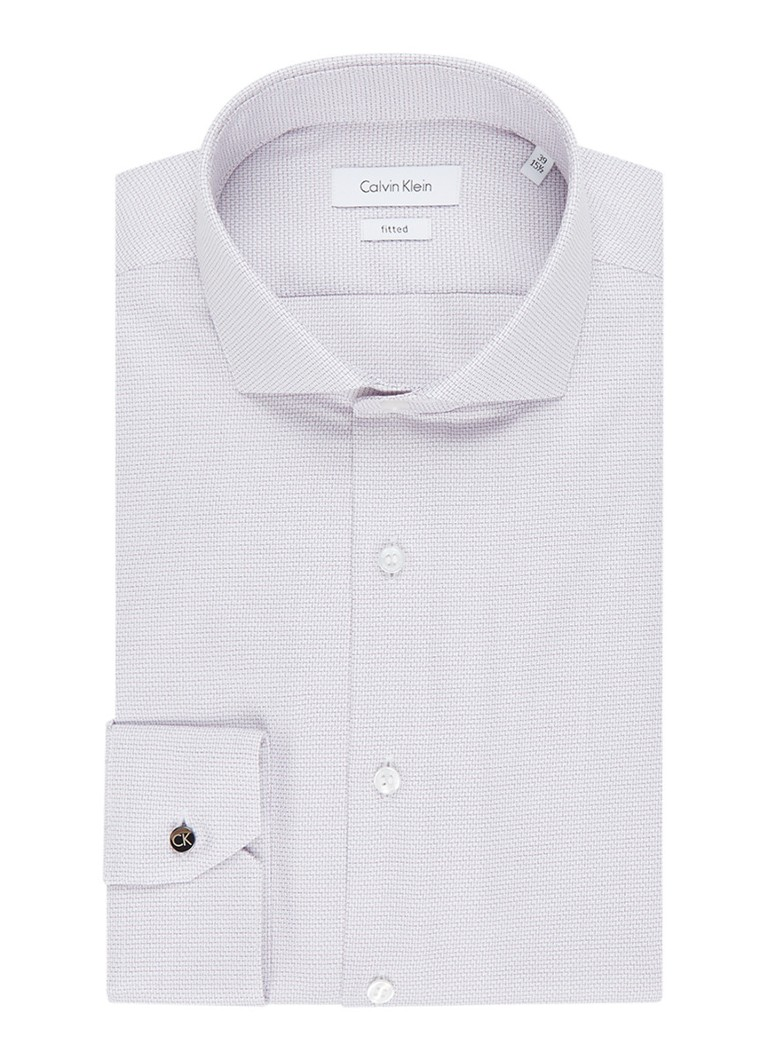 Calvin Klein Fitted overhemd met micro zigzag jacquarddessin