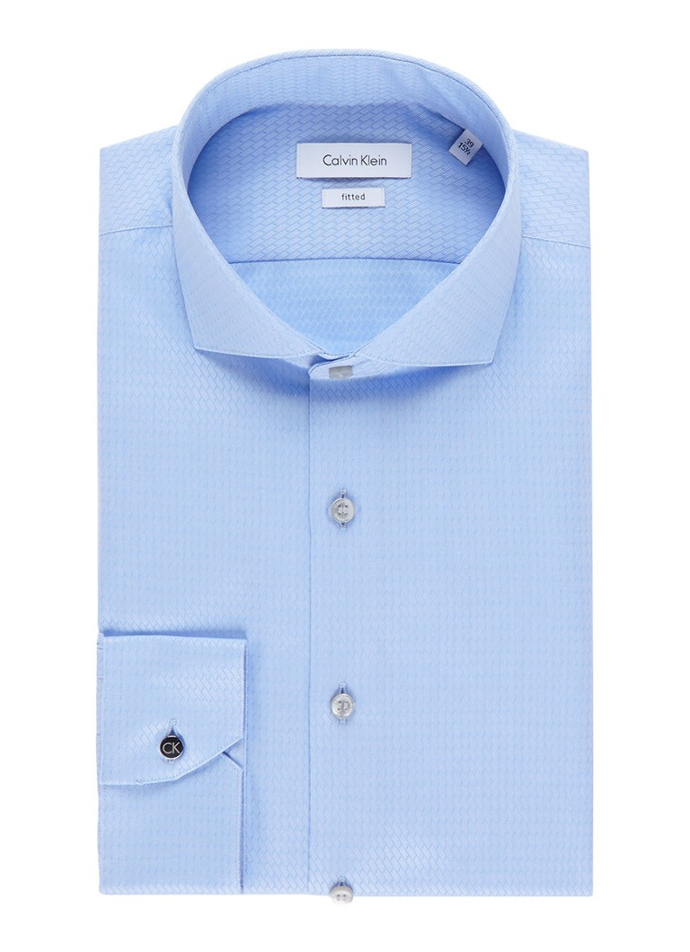 Calvin Klein Slim fit overhemd met zigzag jacquarddessin