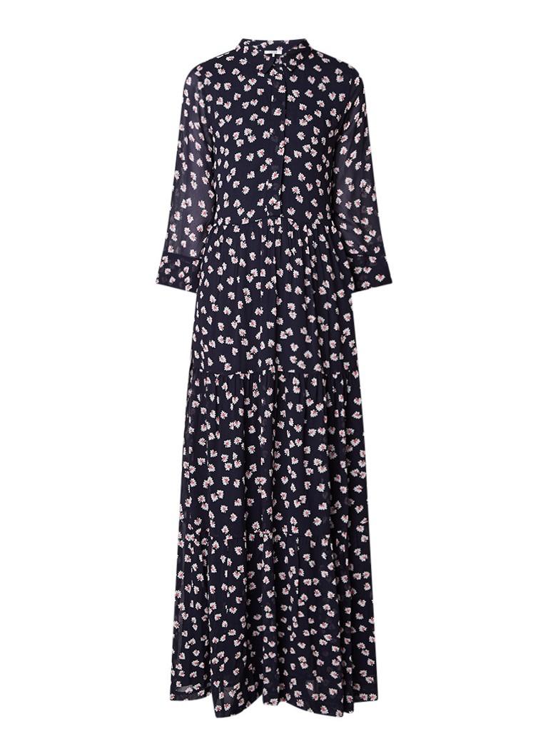 Ganni Maxi-jurk met bloemendessin donkerblauw