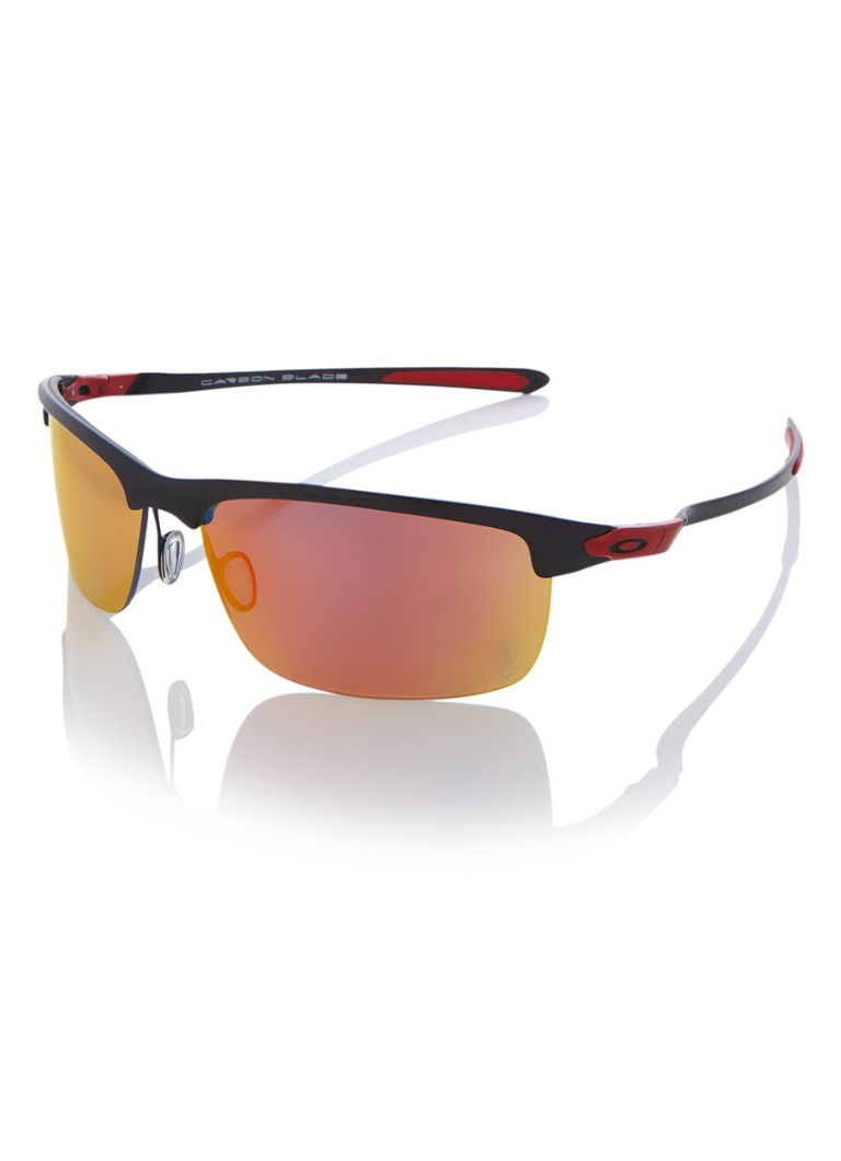 Oakley Carbon Blade - Zonnebril - Polarized Polished Carbon Ruby Iridium - Zwart Rood