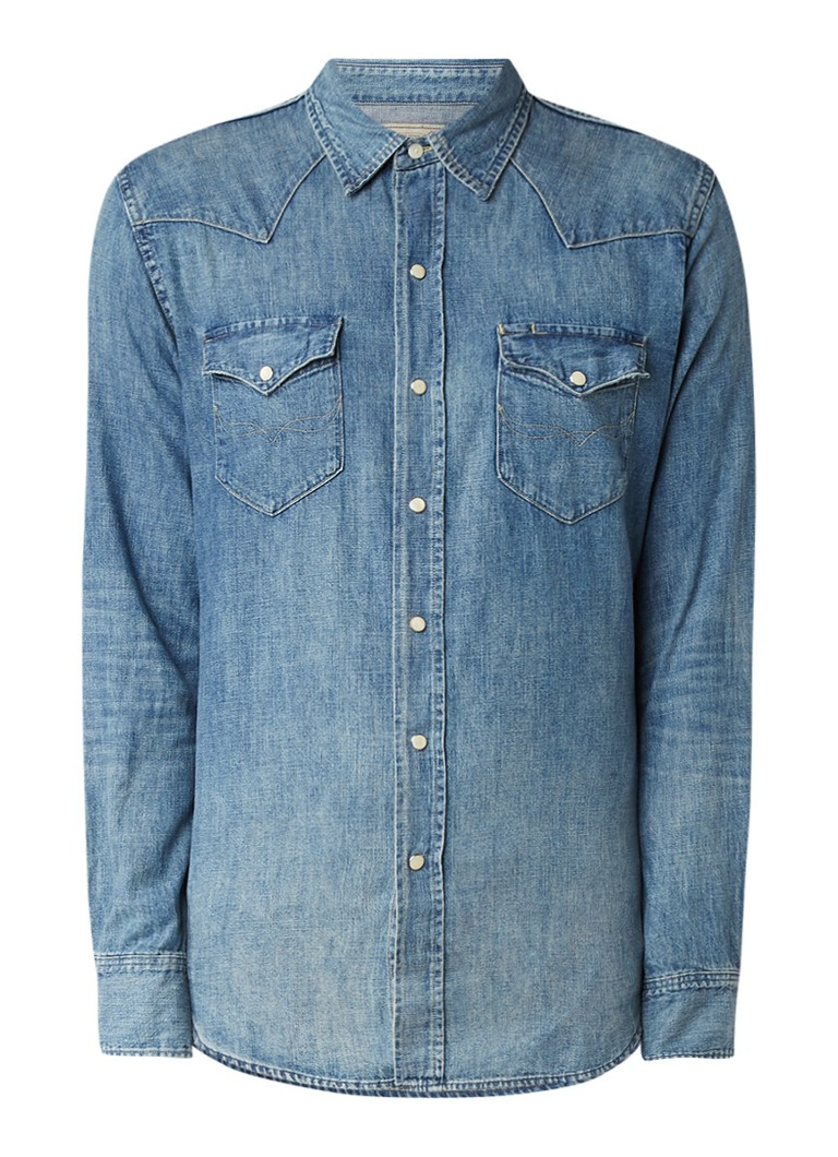 Ralph Lauren Slim fit overhemd van denim met vintage look