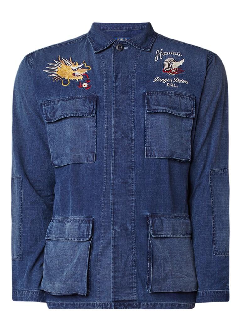 Ralph Lauren Denim overhemd met klepzakken en borduring