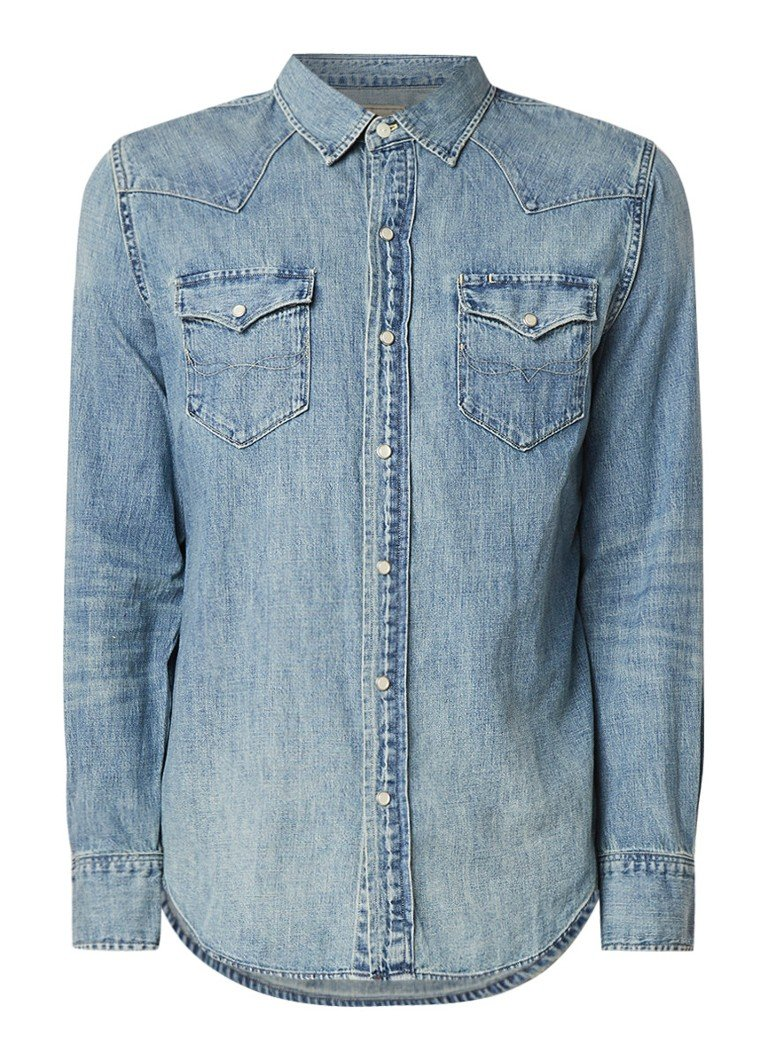 Ralph Lauren Regular fit denim overhemd met drukknoopsluiting