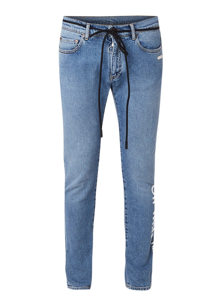 Off-White Bleached skinny fit jeans met logo opdruk