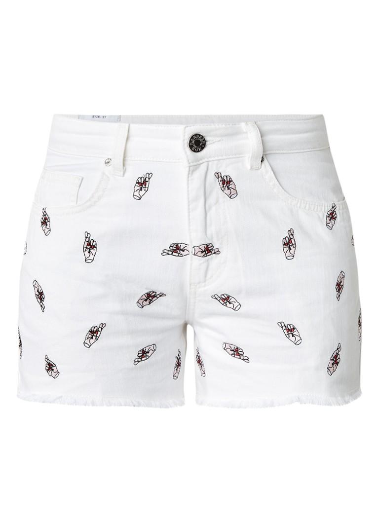 Zoe Karssen High rise denim shorts met borduursels