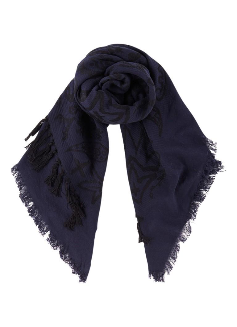 Diesel Sjaal van wol met paisley dessin 100 x 100 cm