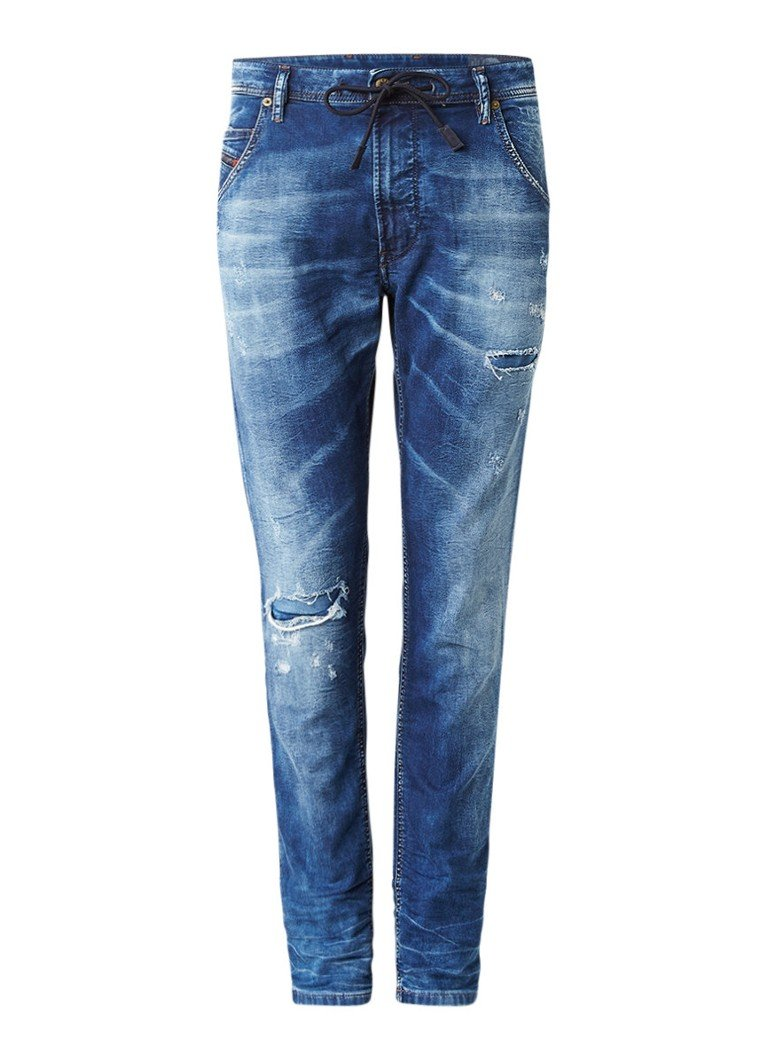 Diesel Krooley joggjeans met tapered fit en repaired look