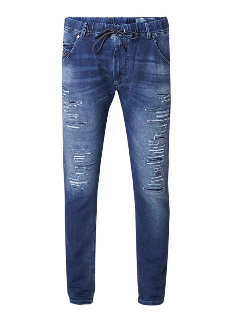 Diesel Krooley R-NE Sweat jeans met tapered fit en destroyed look