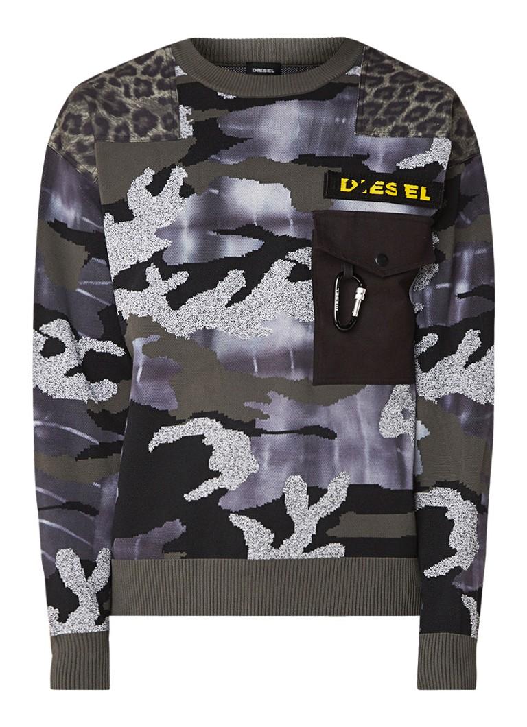 Diesel K-Camou fijngebreide trui met camouflage dessin