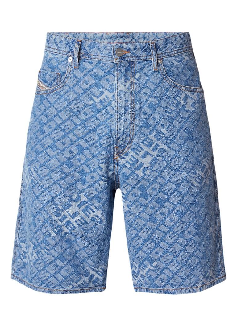 Diesel D-Willoh loose fit denim shorts met logoprint