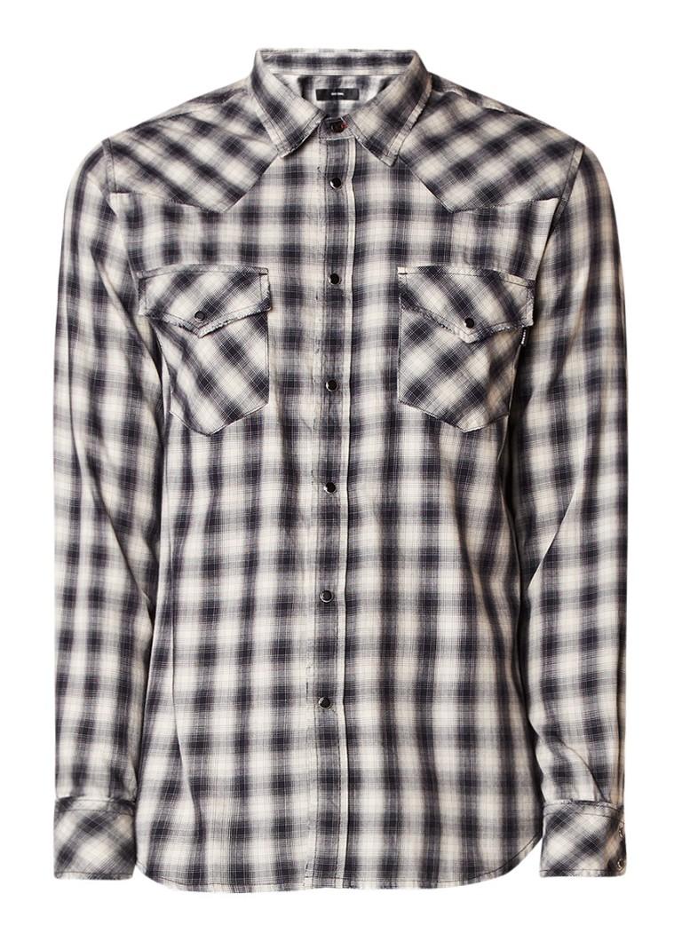 Diesel S-East overhemd met geruit dessin en borstzak