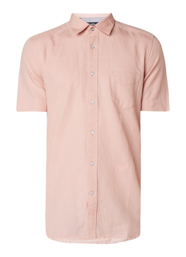Diesel Venetian overhemd in linnenblend met korte mouw