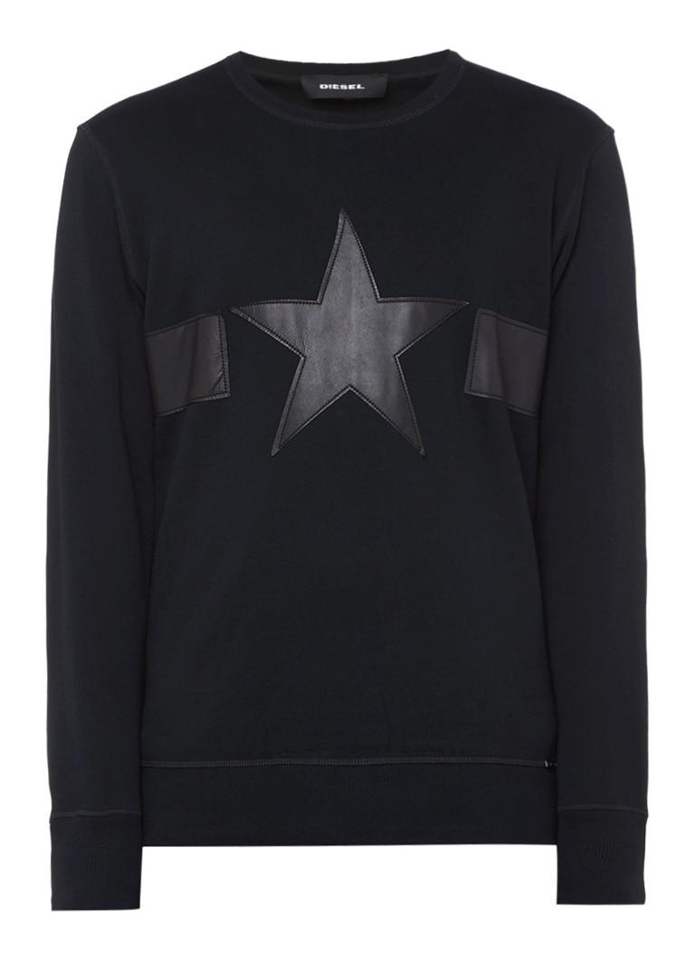 Diesel S-Joe sweater met applicatie van leer