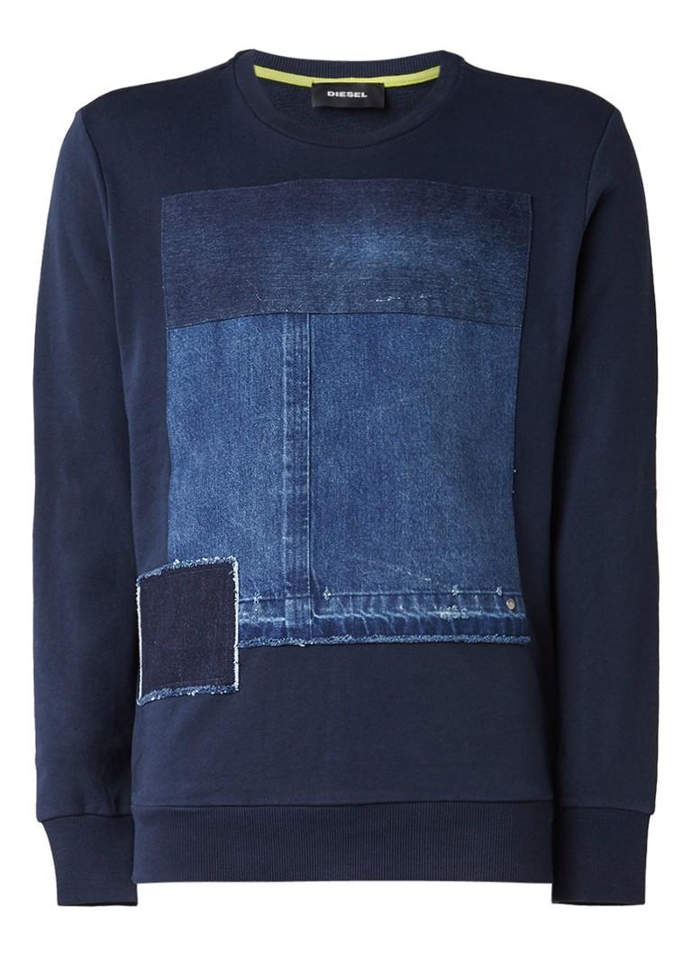 Diesel S-Peter sweater met denim-applicaties