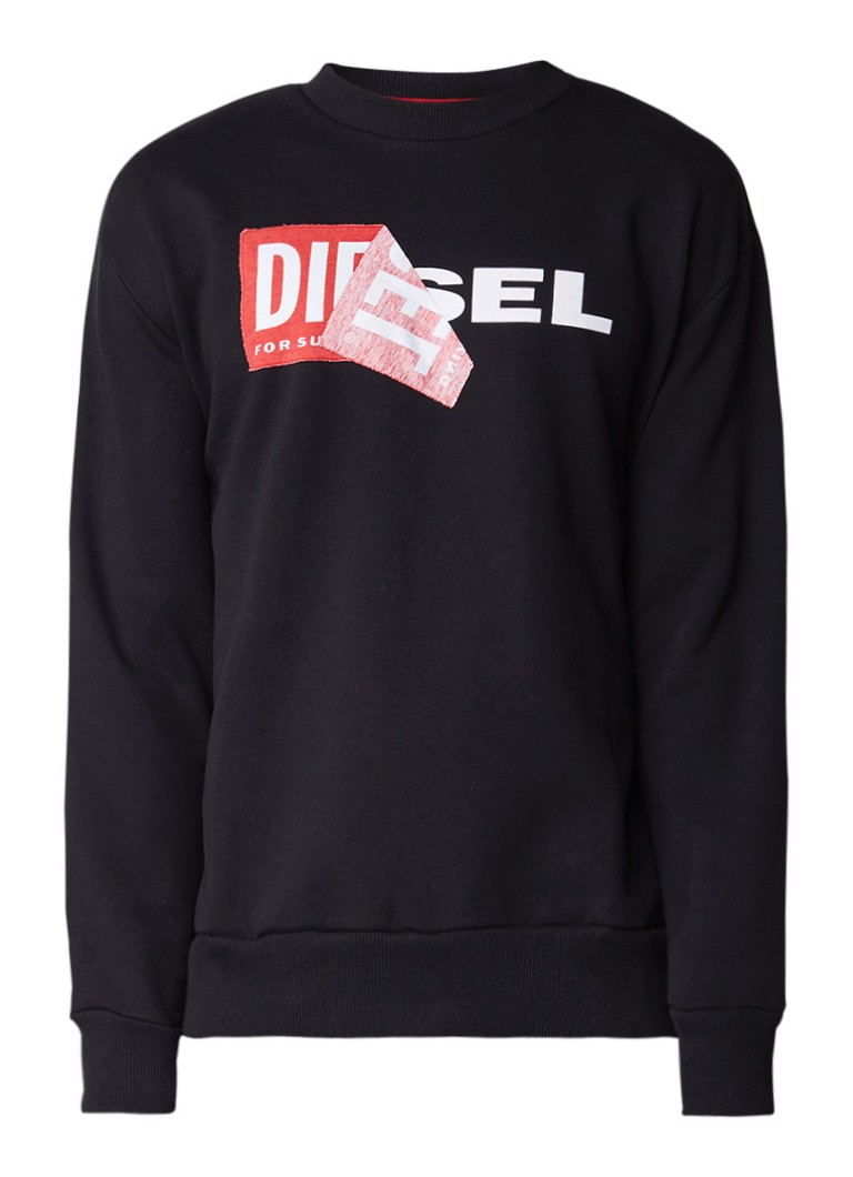 Diesel S-Samy sweater met logoprint en applicatie