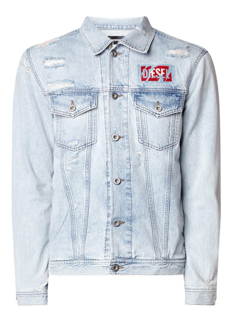 Diesel N-Hill jack van denim met destroyed details en logoprint