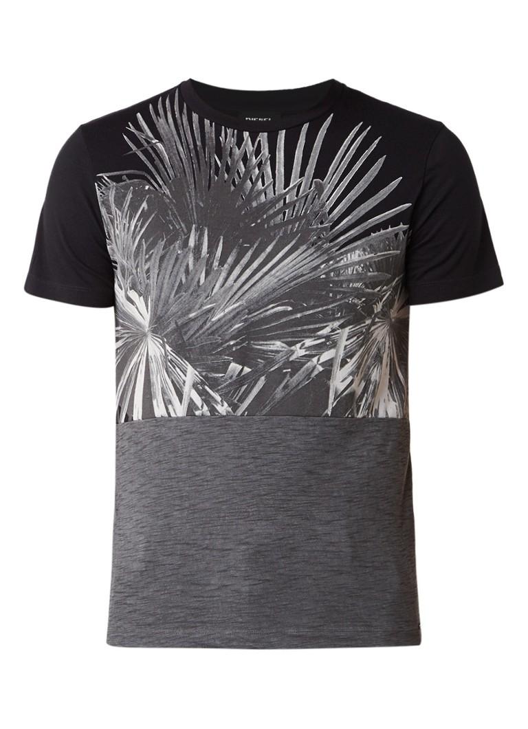 Diesel T-Diego-NI T-shirt met bladprint in negatief