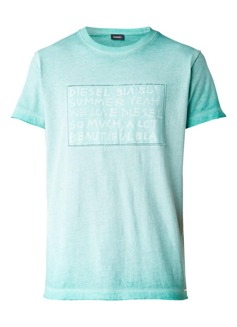 Diesel T-Diego-NH T-shirt met garment dye en tekstprint