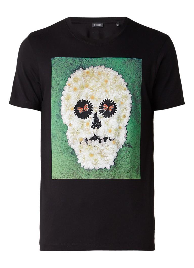 Polo s en T shirts Diesel T Joe T shirt met gebloemde skullprint Zwart