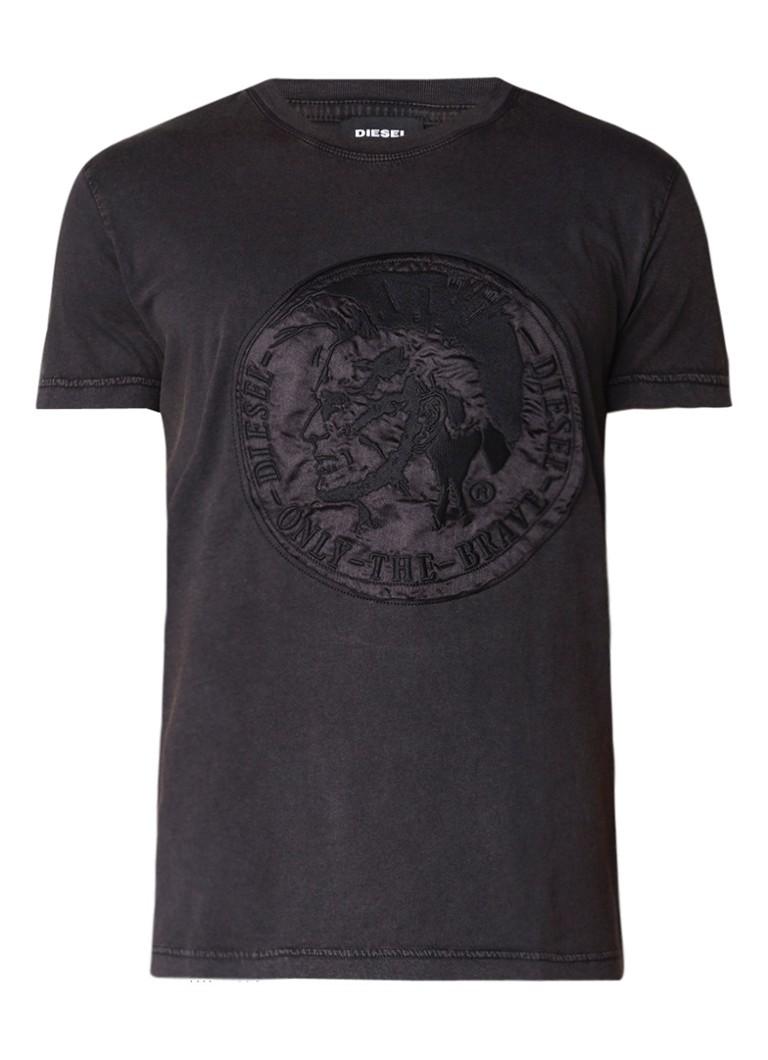 Diesel T-Diego T-shirt met applicatie en faded look