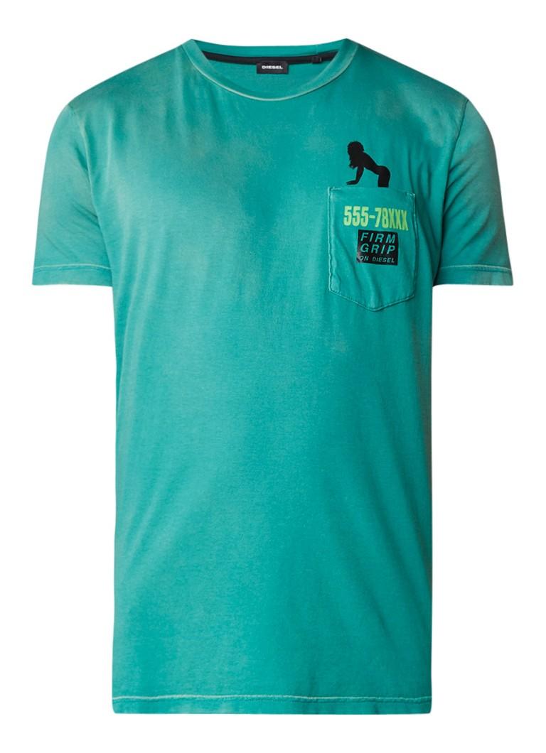 Diesel T-Joe T-shirt met borstzak en print