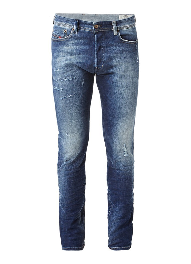 Diesel Tepphar slim-carrot fit jeans 084GF met destroyed details