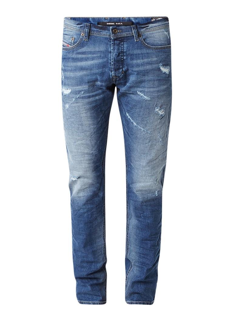 Diesel Tepphar slim-carrot jeans met destroyed details 084LR