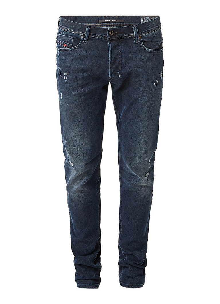 Diesel Tepphar slim-carrot fit jeans met destroyed detail 084LD