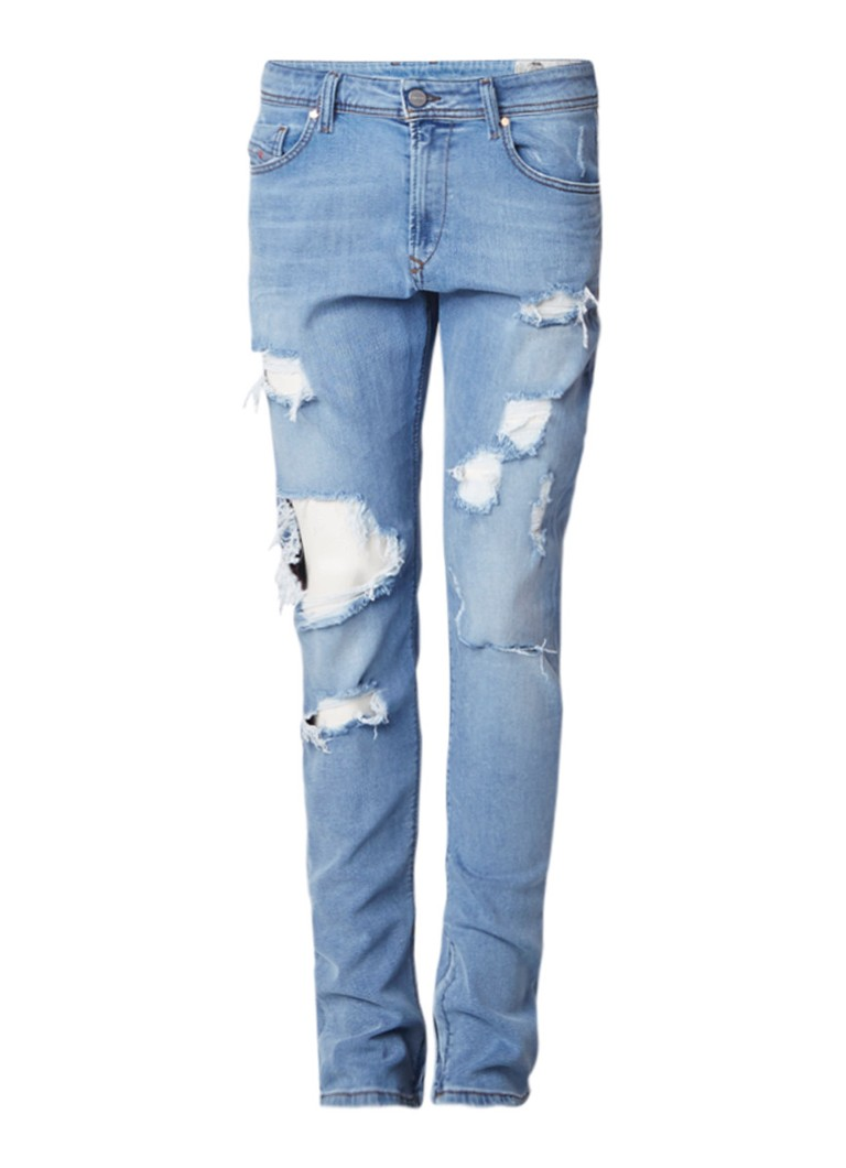 Diesel Deepzip slim-carrot fit destroyed jeans met enkelrits 084NU