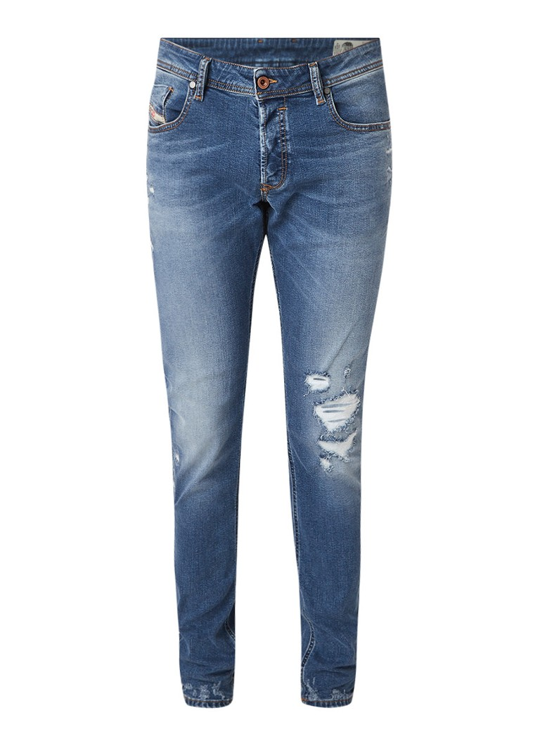 Diesel Sleenker slim-skinny jeans met destroyed details 085AH