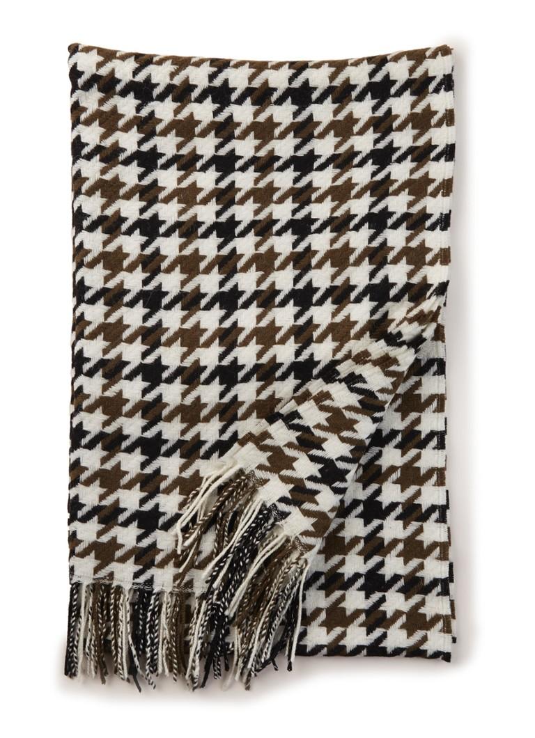 Image of HUGO BOSS Laurissa sjaal van wol met pied-de-poule dessin 190 x 60 cm