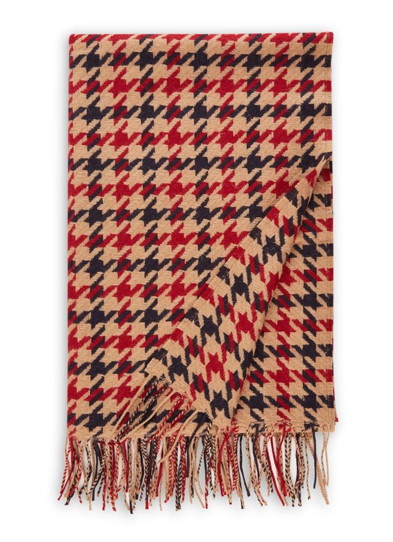 Image of HUGO BOSS Laurissa sjaal van wol met pied-de-poule dessin 200 x 65 cm