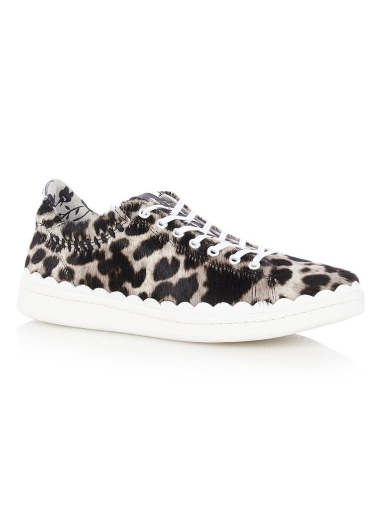 Floris van Bommel Sneaker van ponyhair met luipaarddessin