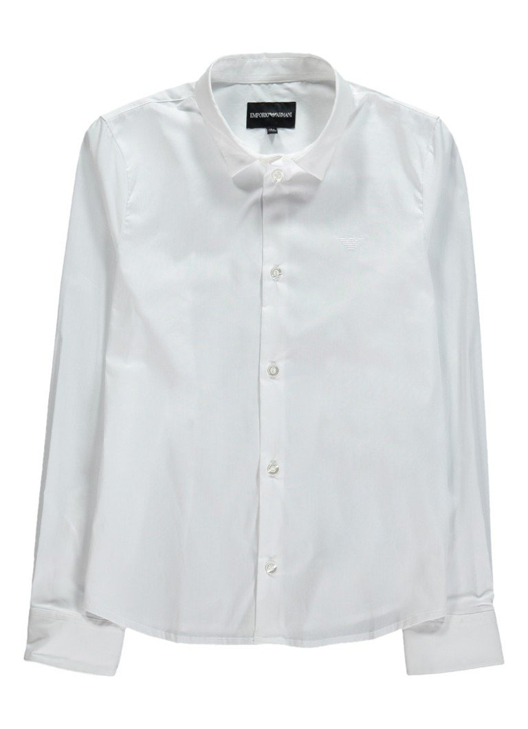 Armani Overhemd met stretch en logoborduring