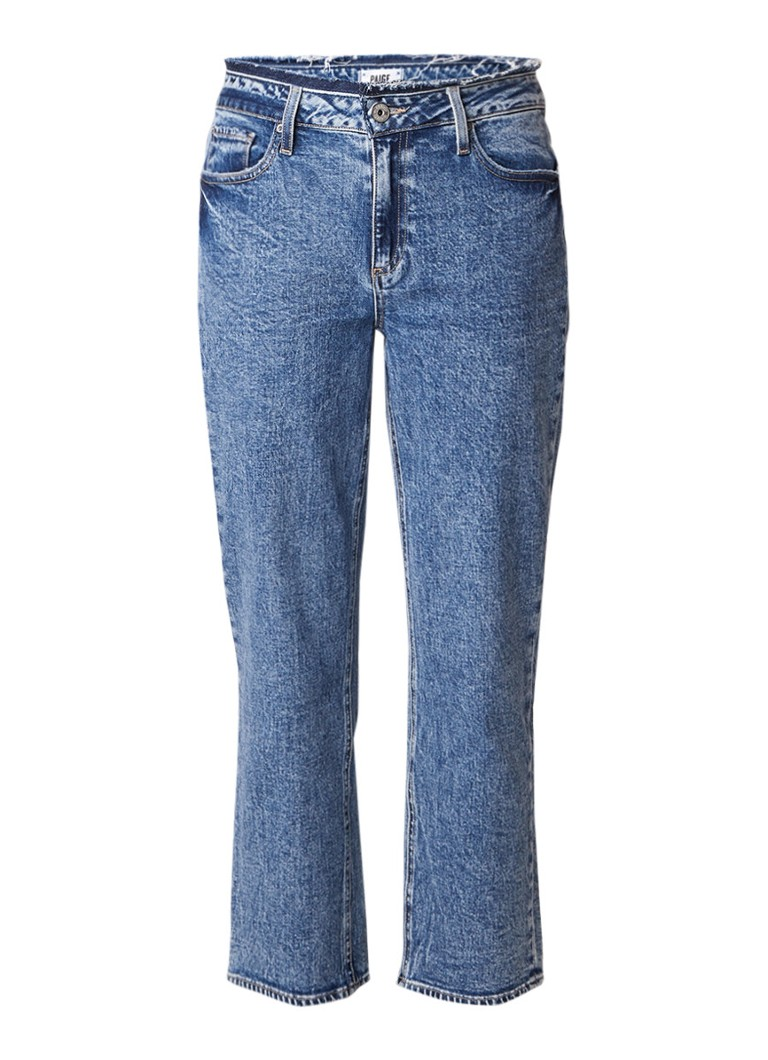 Paige Noella high rise straight fit jeans met destroyed detail