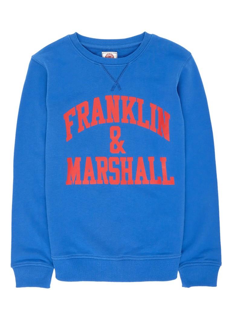 Franklin  and  Marshall Sweater met logoprint met ronde hals