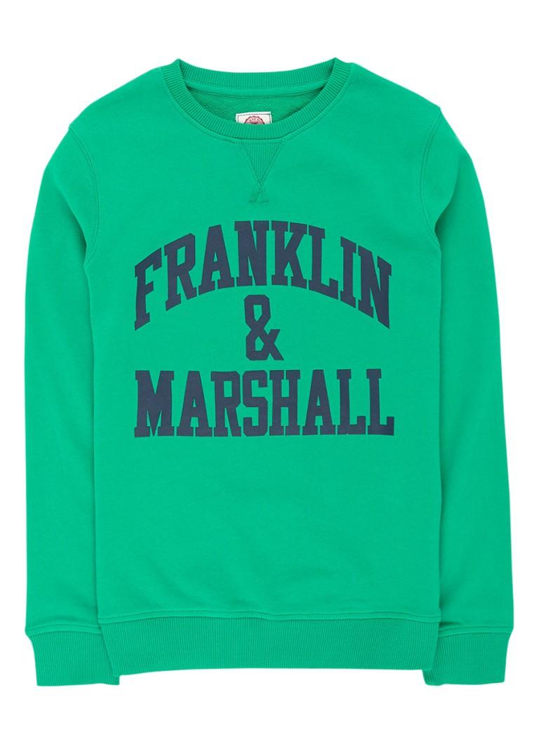Franklin  and  Marshall Sweater met logoprint en ronde hals