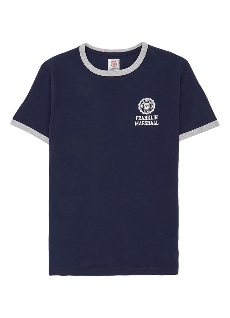 Franklin  and  Marshall T-shirt met logoprint en contrasterende boord