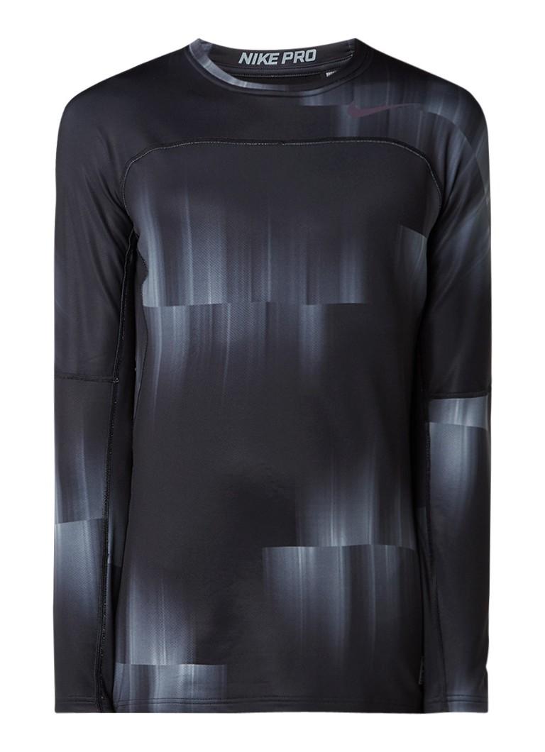 Polo s en T shirts Nike Pro hyperwarm trainings top met lange mouw en dessin Zwart
