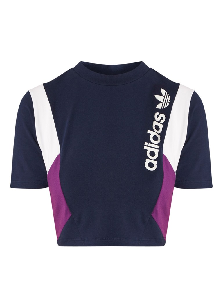 Image of adidas Cropped T-shirt met colour blocking en logoprint