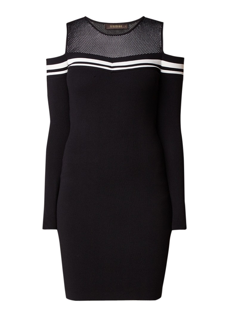 SuperTrash Dane cold shoulder mini-jurk met mesh inzet
