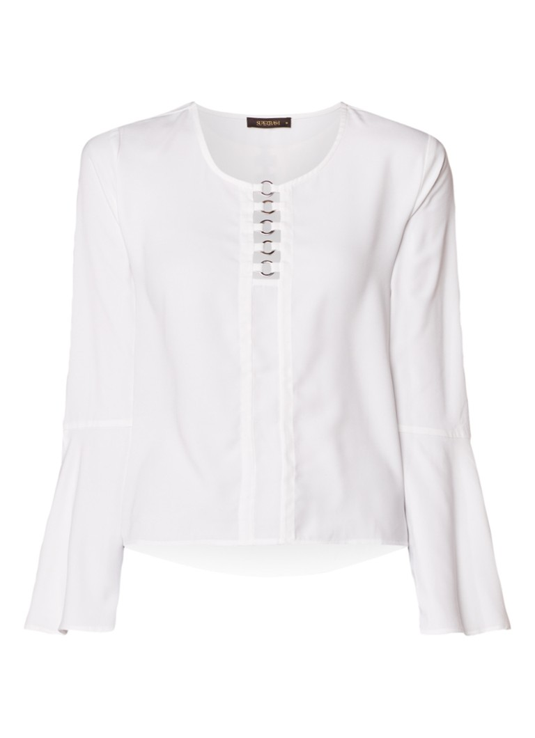 SuperTrash B-joy blousetop met cut-out detail en volant mouw