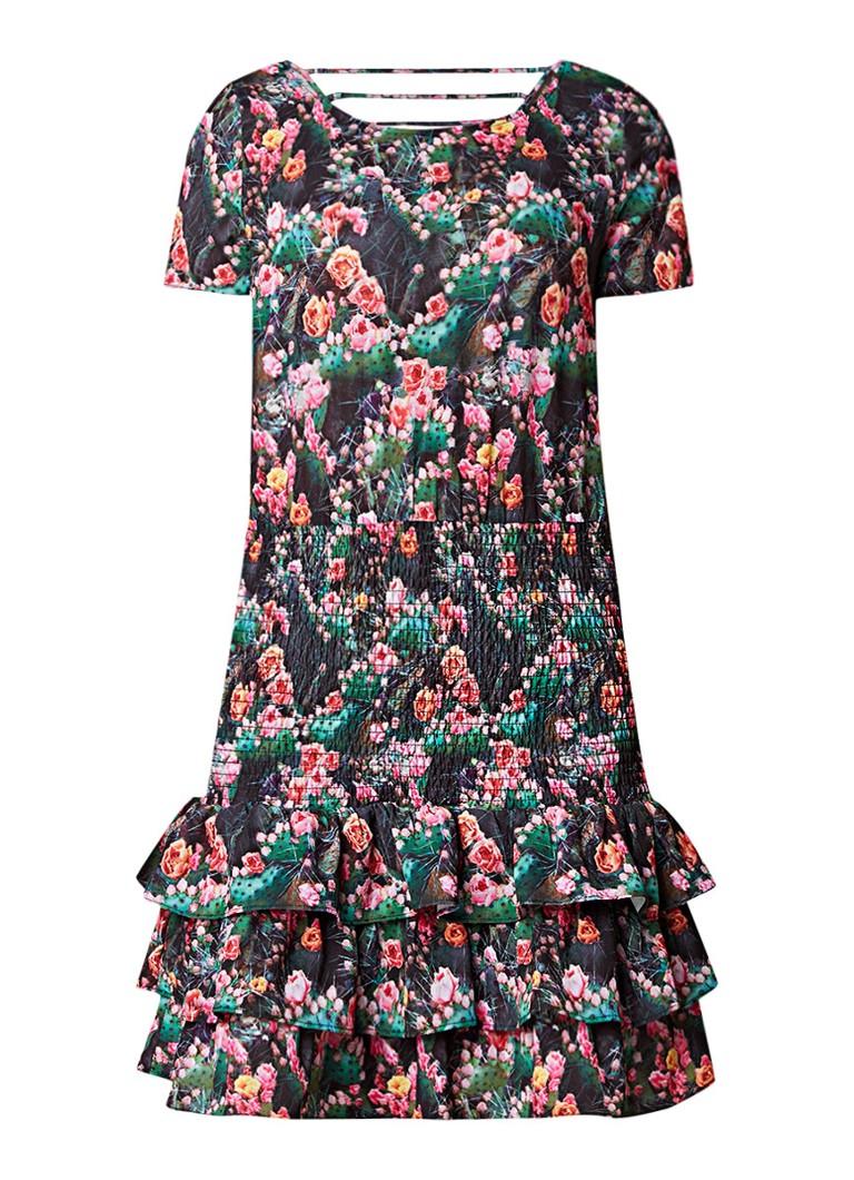 Supertrash Danna mini-jurk met bloemenprint en volant groen