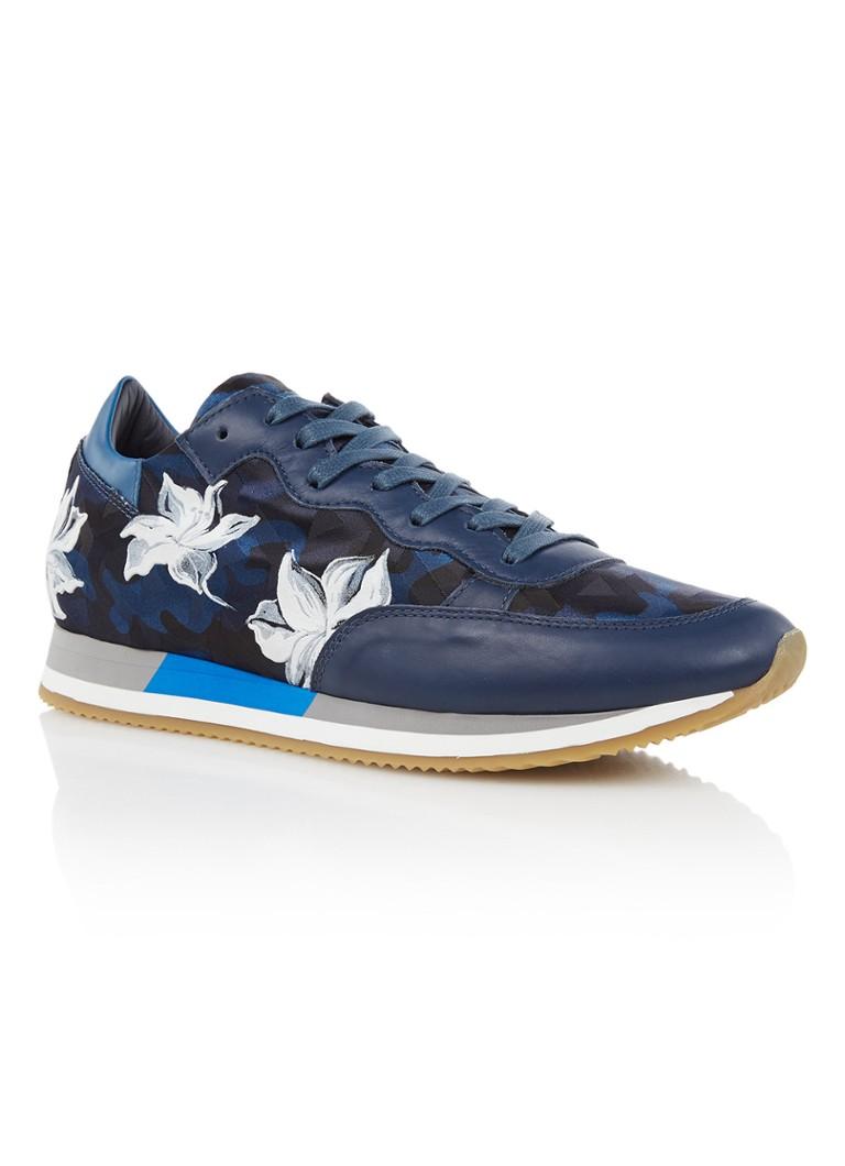 Philippe Model herensneaker print en blauw