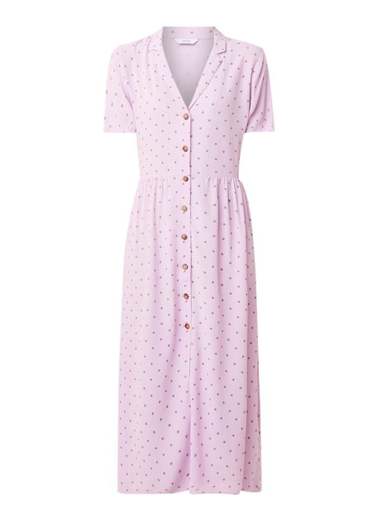 Envii Ennaples midi blousejurk met stippendessin lila