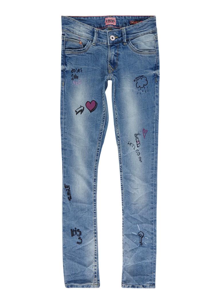 Vingino Alinda skinny fit jeans met tekstopdruk