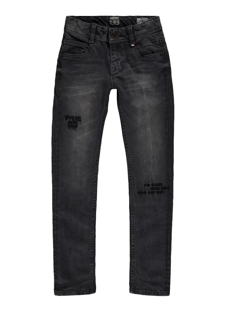 Jeans Vingino Arnaud skinny fit jeans met tekstborduring Antraciet